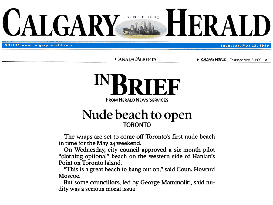 Calgary Herald 1999-05-13 pA11 - Toronto Council enacts Simm's proposal to create Hanlan's Point CO-zone